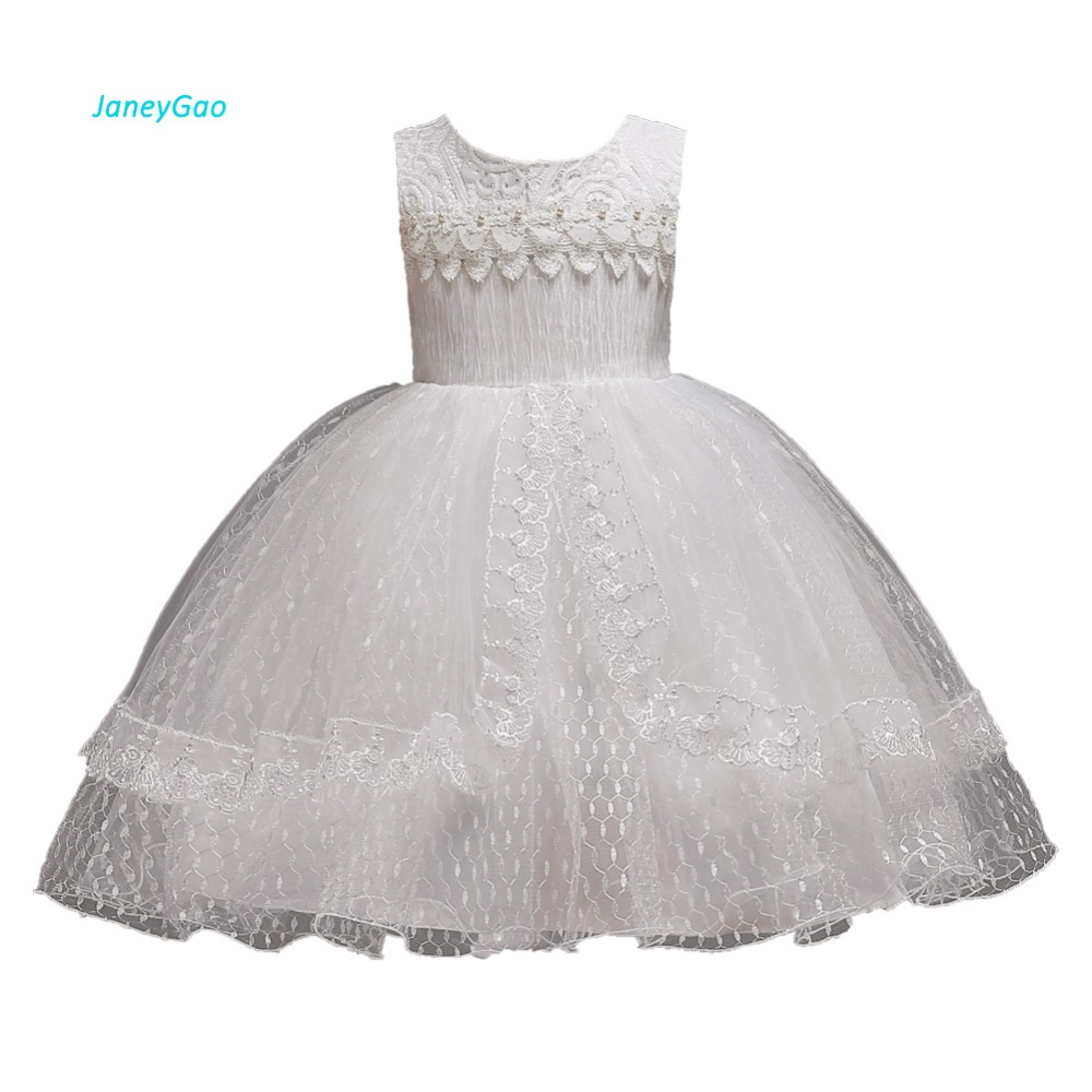 JaneyGao   Flower     Girl     Dresses   For Wedding Party Little   Girl   First Communion   Dresses   White Princess Elegant Formal Gown 2019 New