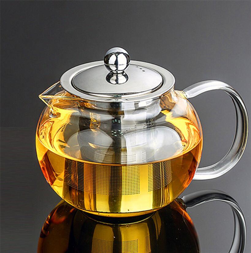 Alta calidad resistente al calor tetera de vidrio, flor China Set de té Puer tetera de café tetera conveniente con infusión oficina inicio