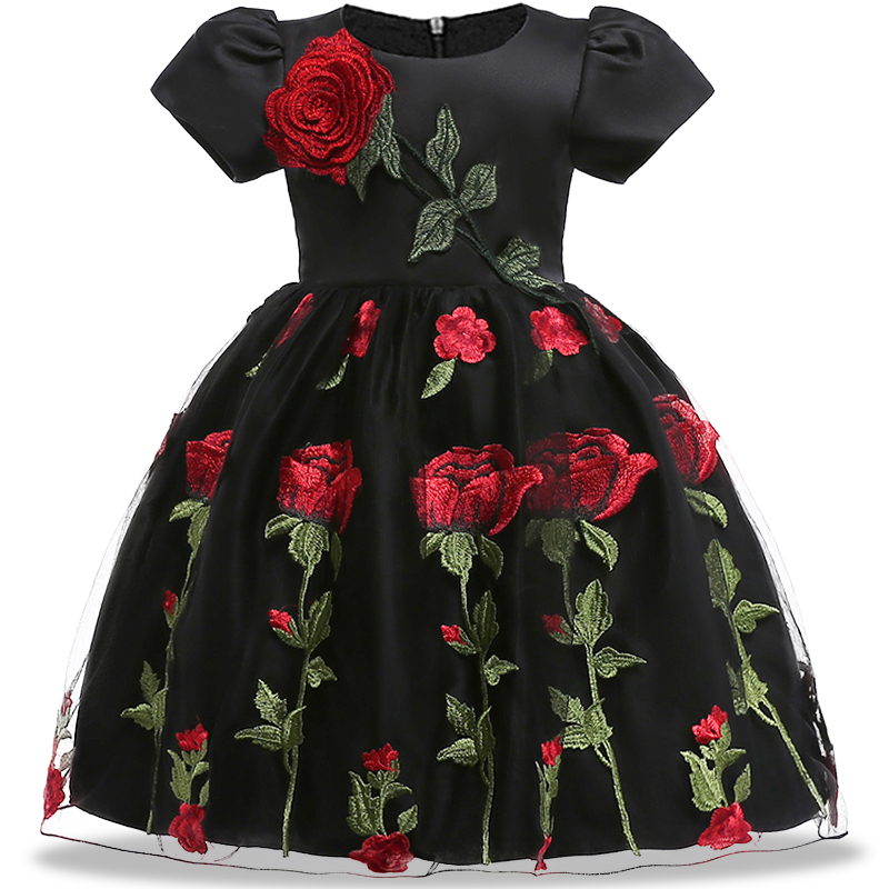 Fashion Flower Girl Dress Rose embroidery Party Dress Sundress children Clothing 2018 Summer Dress tutu Princess Wedding voro beve princess sundress summer new 2017 fashion children clothes baby girl dress cartoon print cotton sundress