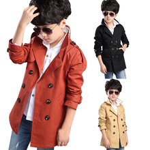 High Quality Child Kid Boy Stylish Double Breasted Trench Co