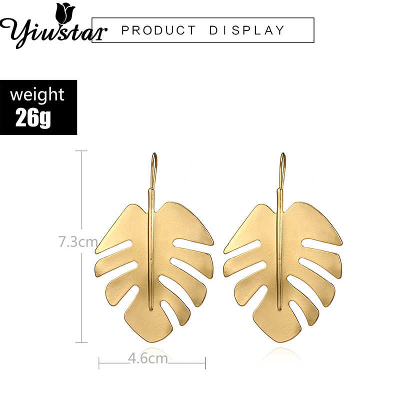 Yiustar Bohemian Hollow Monstera Leaf Dangle Drop Pendientes Earrings Elegant Hawaiian Plam Tree Earrings for Women Girls Gifts