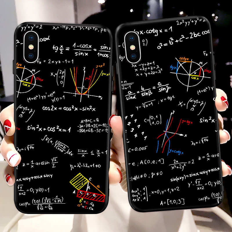 Math Equation Geometrical Pattern Phone Case For iPhone XS Max Case for iPhone 11 Pro X XR 6 6S 7 8 Plus TPU Soft Silicone Cover