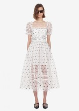 Women high quality white lace dress Summer sexy hollow-out dress A403