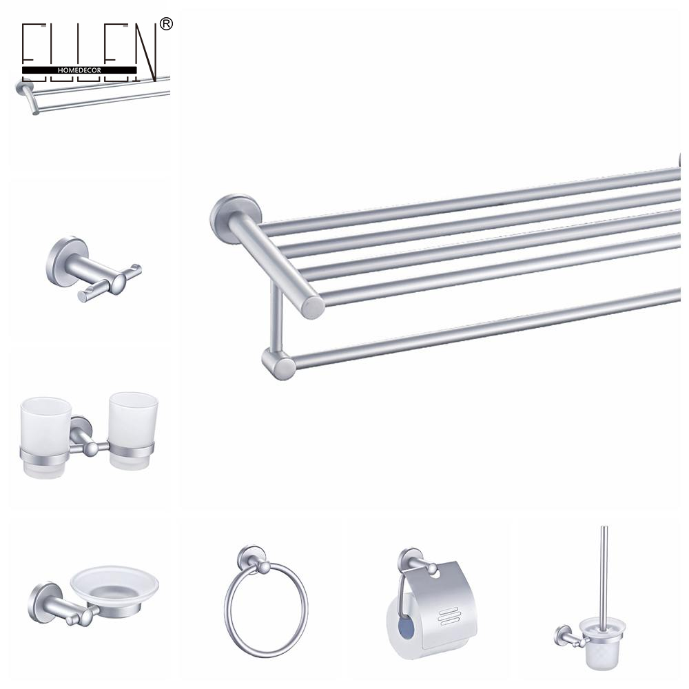 Aluminum bathroom accessories set towel shelf towel holder for Bathroom accessories towel holder