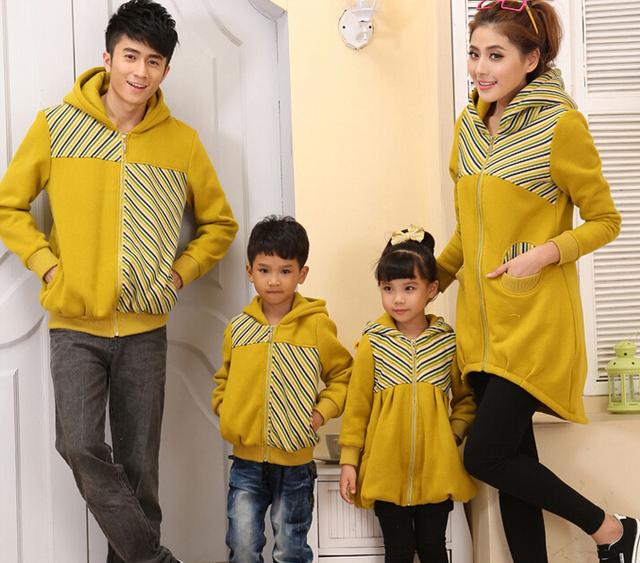 Família Casacos Mulheres Listradas Zipper Moletons Hoodies Casacos/Outwear para Meninas Meninos e Homens CHH86Y
