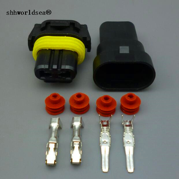Shhworldsea 2sets 2 Pin 9005 HB3 Female Male Car Wire Connectors For HID Plug Socket Adaptor Joint Head HB3
