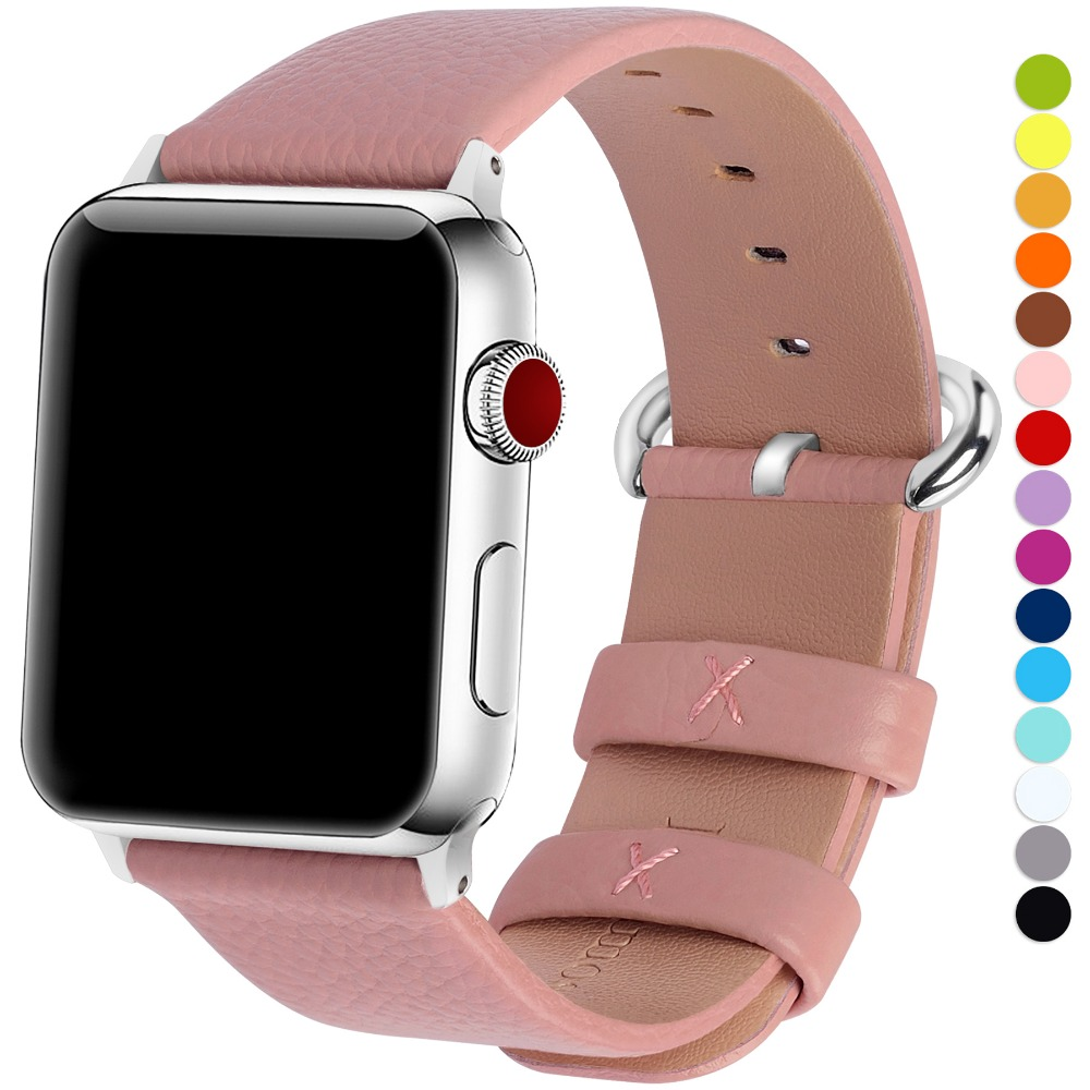 15 Colors of Apple Watch Band 3/4 42mm 38mm,Genuine Leather iWatch Bracelet with Stainless Steel Clasp for iWatch Series 4&3&2&115 Colors of Apple Watch Band 3/4 42mm 38mm,Genuine Leather iWatch Bracelet with Stainless Steel Clasp for iWatch Series 4&3&2&1