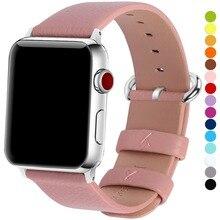 15 цветов Apple Watch Band 3/4 42 мм 38 мм, браслет для iWatch из натуральной кожи с застежкой из нержавеющей стали для iWatch серии 4 и 3 и 2 и 1