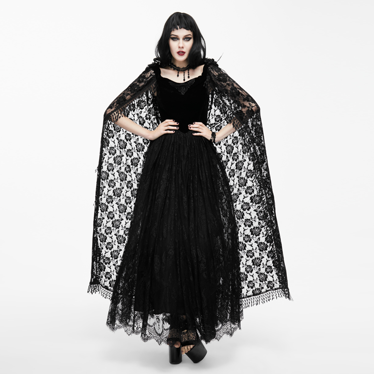 EVA LADY Spring Gothic Women Dresses Black Lace Cloak Sleeves Dresses Ball Gown Bandage Long Dresses