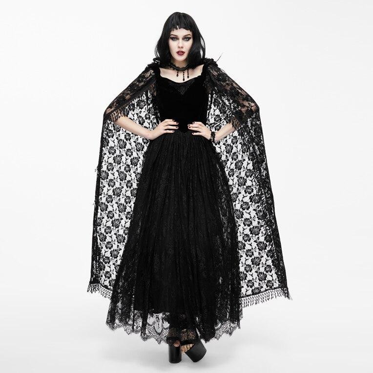 EVA женские весенние готические платья, черные кружевные платья с рукавами плащами, бальное платье, бандажные длинные платья