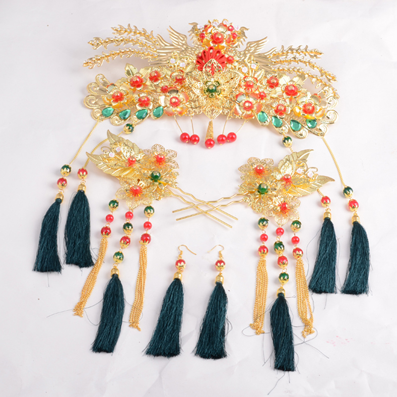 Chinese Traditional Bridal Headdress Long Red/GreenTassels Beads Flowers Hair Jewelry 3
