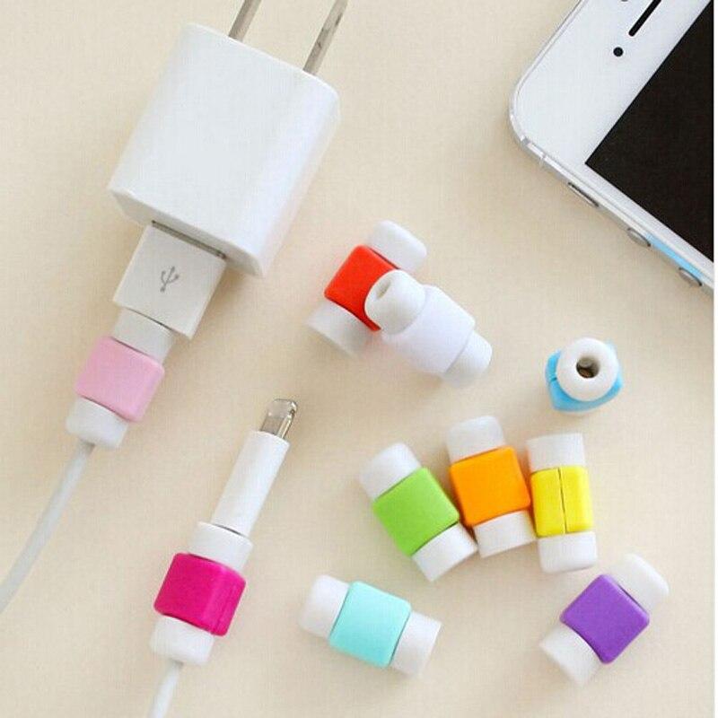 imágenes para 100 unids/lote * diseño único colorido cabo digital cable protector protector protector de cubierta para appple iphone cable de carga