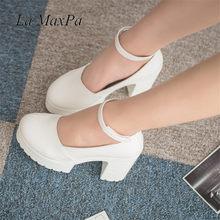 a5a2613b La MaxPa blanco cuñas zapatos plataforma bombas mujeres tacones altos  redonda dedo del pie negro 9