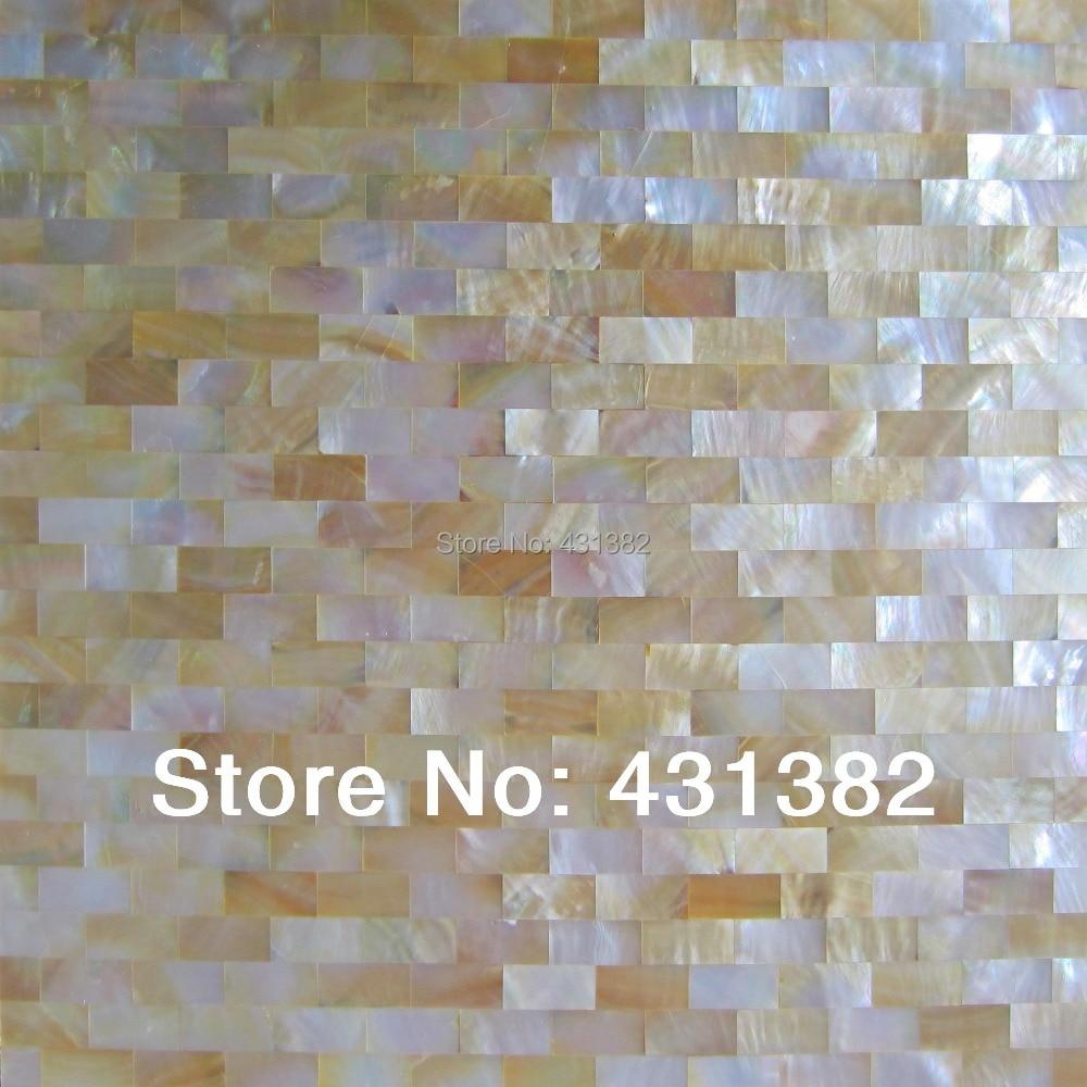 11 pièces lèvre jaune h-forme coquille mosaïque carrelage papier peint