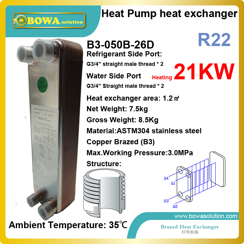 70000BTU (R22) stainless steel plate heat exchanger is working as water heater in heat pump unit, suitable for 6HP scroll comp. 19kw r410a to water and 4 5mpa stainless steel plate heat exchanger are used water heater in commerce heat pump equipments
