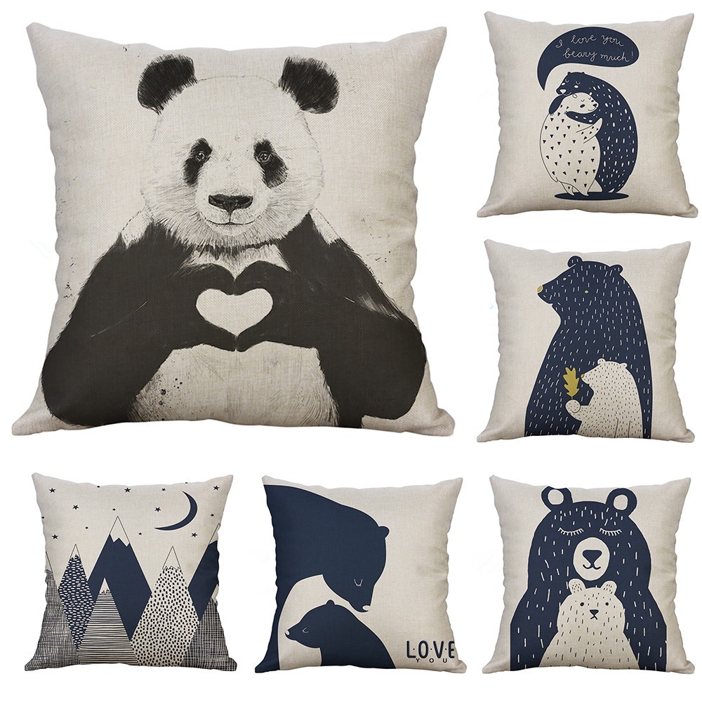 Us 1 47 25 Off Stylish Blue Abstract Cartoon Cool Bear Cushion Cover Decorative Pillows Cover For Sofa Seat Soft Throw Pillow Case 45x45cm In