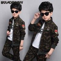 Chłopiec i dziewcząt kamuflaż mundury garnitury 2017 nowe ubrania wiosna Koreańska wersja wiosna dzieci w dwa-