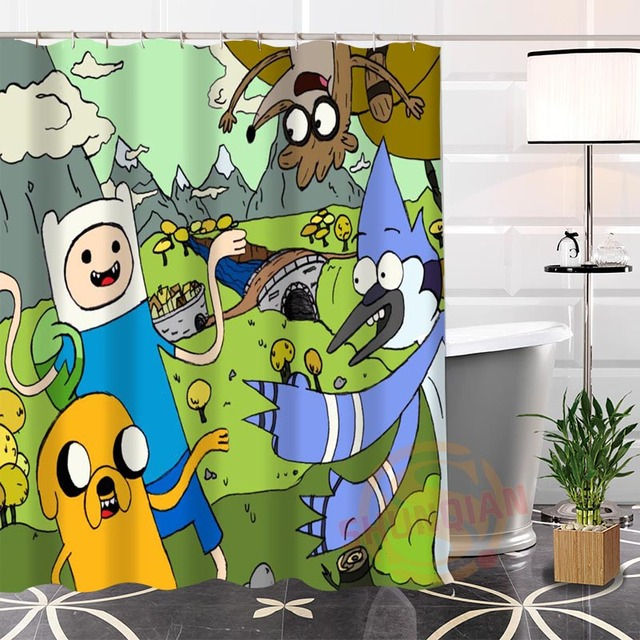 Custom Adventure Time Unique Fabric Modern Shower Curtain Bathroom 3D Waterproof With Hook For Yourself 2018 Bath Gift