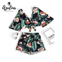 AZULINA Bloemen Kelderen Hals Cropped Top en Hoge Waisted Lace Trim Shorts Vrouwen Kleding Casual Tweedelige Set Zomer Twinset
