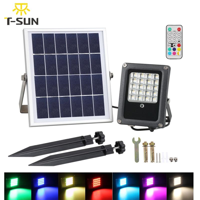 T-SUNRISE Solar Flood Light 10W RGB Outdoor Lighting Waterproof IP65 LED Flood Light with Solar Panel LED Spotlights Garden Lamp