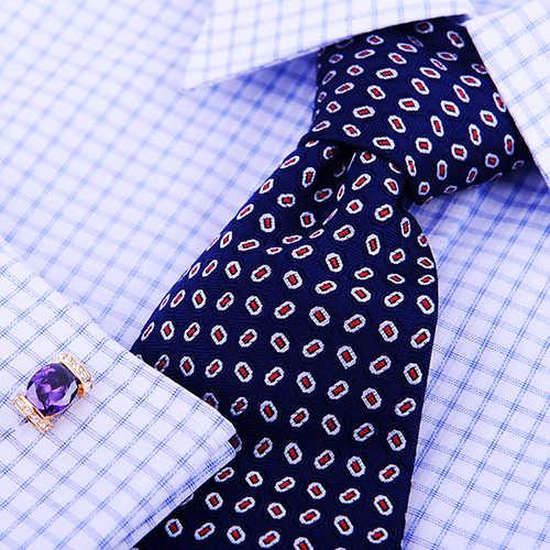 Kflk luxo 2020 camisa abotoadura para as mulheres quente marca botão manguito roxo cristal manguito ligação de alta qualidade ouro jóias abotoadura
