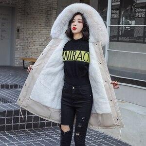 Image 5 - Fitaylor zima kobiety kurtka gruba ciepła bawełna płaszcz duże futro kołnierz z kapturem parki Faux futra królika czarny różowy śnieg znosić