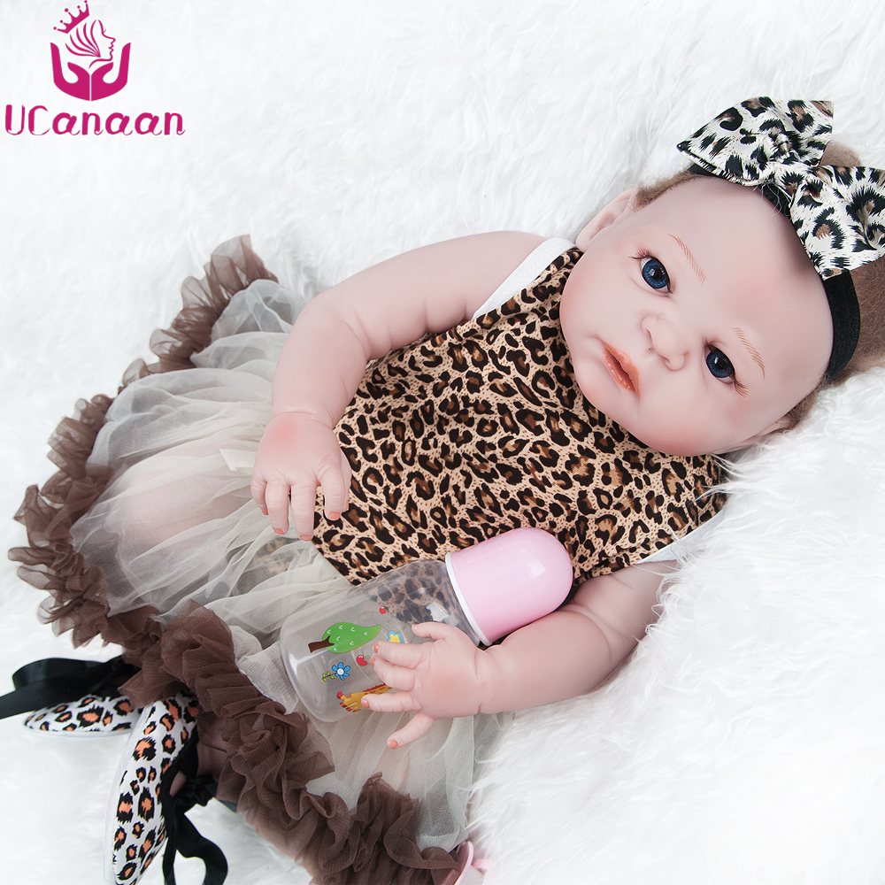 UCanaan 22''/ 55CM Full Vinyl Baby Born Doll Leopard Dress Silicone Dolls Reborn Baby Alive Toys For Children Gifts Collection bigbang alive 2012 making collection repackage release date 2013 5 22 kpop