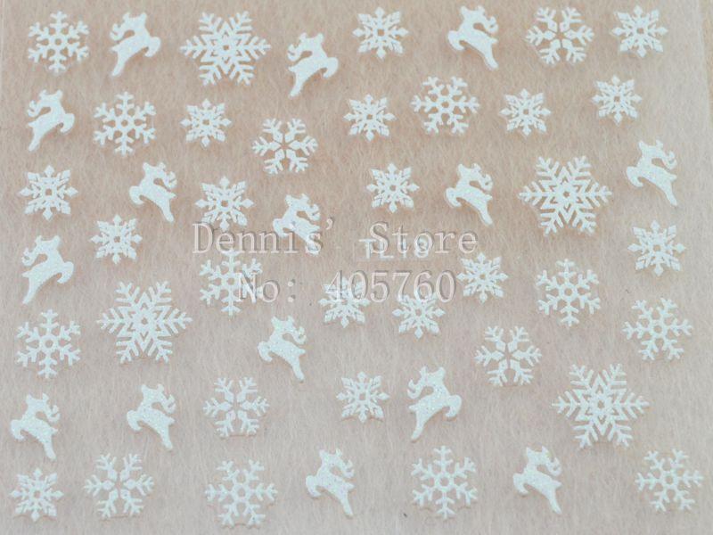 Wholesale 5 sheet/lot Cute Christmas White Glitter Snowflake Deer 3D Nail Art Sticker Phone Xmas DIY Decals TL18# Retail Package