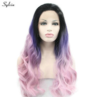 Sylvia Black Root Ombre Blue Purple To Pink Colorful Heat Resistant Fiber Body Wavy Soft Synthetic