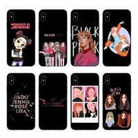 K-pop BLACKPINK PRETO ROSA kpop colagem Caso Capa para o iphone 4 5 6 7 8 X XR XS Xmax Plus Casos de Telefone Weiche TPU Coque