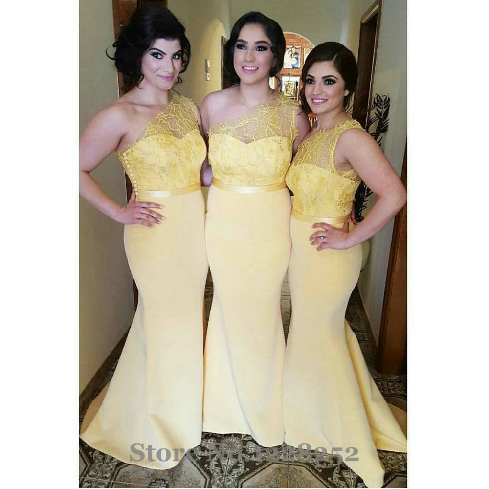 Chic lace yellow bridesmaid dress one shoulder sheer satin party chic lace yellow bridesmaid dress one shoulder sheer satin party dress plus size lace mermaid beautiful bridemaids dresses 2017 in bridesmaid dresses from ombrellifo Images
