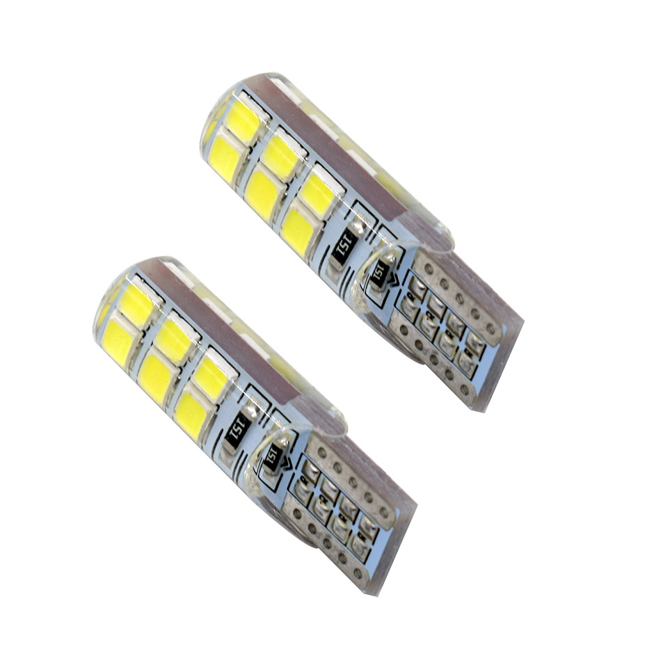 100X High quality silicone Car Auto LED 194 W5W 12SMD T10 12 LED SMD 2835 Wedge led Light Bulb Lamp