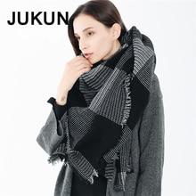 Women black cashmere scarf Circle long rabbit fur winter warm street fashion plaid shawl 130*170cm