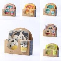 Rosiky 5pcs Set Children Baby Bamboo Fiber Tableware Baby Tableware Set Cartoon Animal Tableware Set Tableware