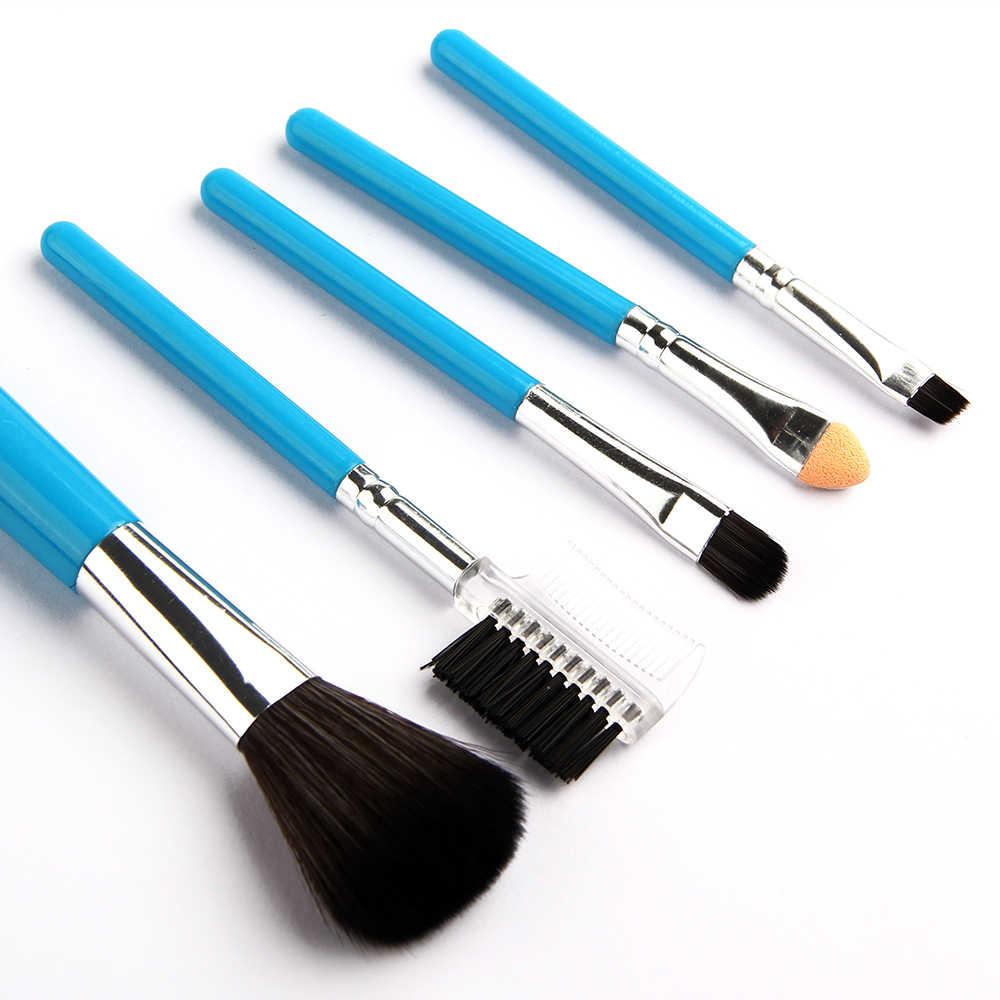 5Pcs /set Mini  Blue Makeup Brushes Cosmetics Tools Eyeshadow Eye Face Makeup Brush Gift Set Blush Soft Brushes Kit New