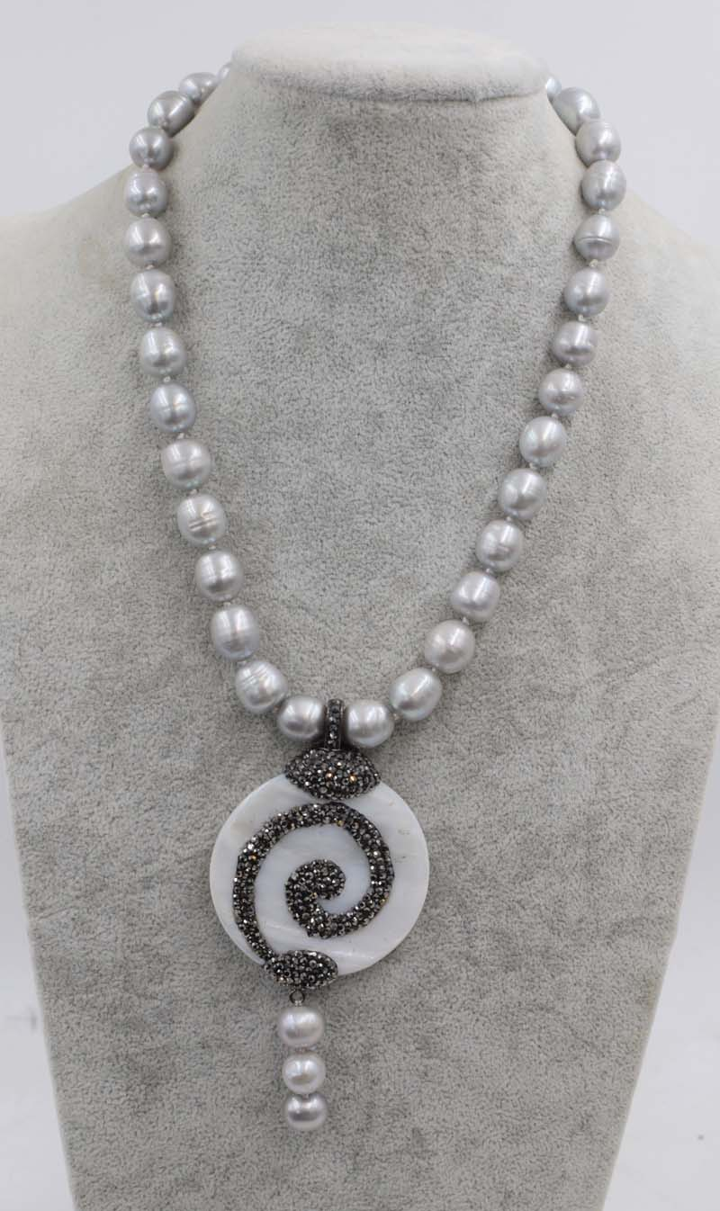 freshwater pearl egg gray  + white shell flower pendant necklace 18inch FPPJ wholesale beads nature