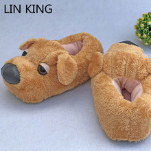 LIN KING Cute Cartton Dog Unisex Winter Indoor тапочки хлопок обувь Women Men Slip On Lazy Home Shoes Lovers Couple Floor Shoes