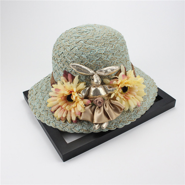Woman Summer Hat Wide Brim Rabbit Flowers Hand-Woven Straw Hat Bohemian Beach Hats For Women