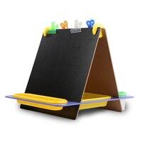 Schreibtisch Typ Tischplatte Mini Doppelseitigen Schwarz Weiß Reißbrett Zusammenklappbar Kinder Früherziehung Spielzeug Einschließlich Papier