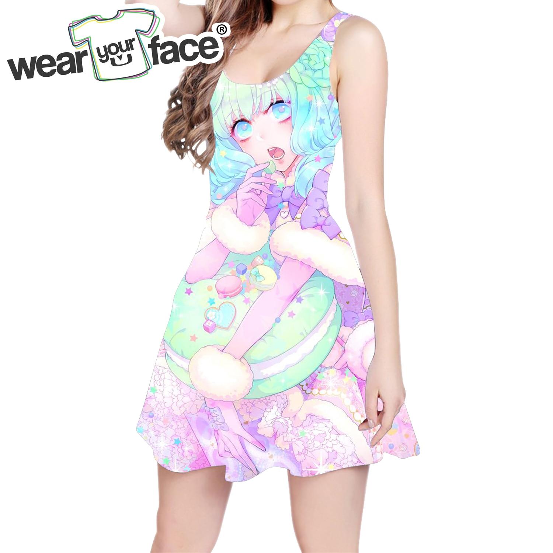 Meninas Anime Bonito Cão 3D All Over Imprimir Skater Vestido Moderno Da Moda Mulheres Casuais Vestido Dropship Tamanho EUA