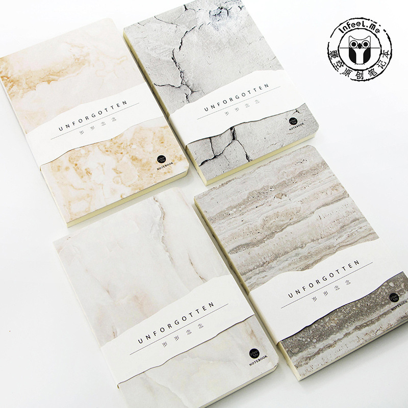 Japanese Kawaii Stationery Unforgotten 80 Pages A5 Blank Pages Marble Style Notebook Journal DIY Personal Diary Note Book creative trend dolphin notebook a5 color inside page note book sketch book graffiti diy diary japanese stationery