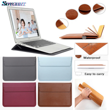 все цены на SDYGHHT Leather Sleeve Protector Bag For Macbook Air 13 Pro Retina 12 13 15 Laptop Case For Macbook new Air 13 A1932 Stand Cover онлайн