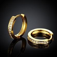 Хорошее качество золотой цвет проложить прозрачный Цирконий CZ маленькие круги Huggies Серьги-кольца для детей девочек детские ювелирные изделия