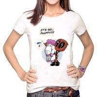 Topjini Funny Deadpool Print White T shirts Women 5XL Short Sleeve O-neck T-shirt Plus Size 6XL Casual women Printed Tops tshirt