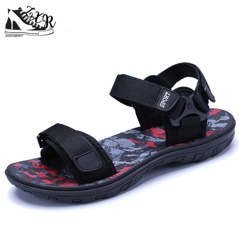 Zuoxiangru Brand Fashion Men Beach Sandals, High Quality Summer Leather Men Sandals