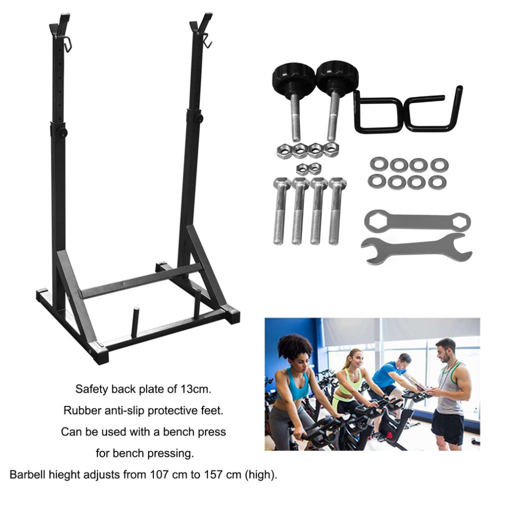 High Quality Barbell Holder Adjustable Rack Standard Solid Steel Squat Stands Barbell Free Press Bench Fitness Equipments adidas squat rack adbe 10265