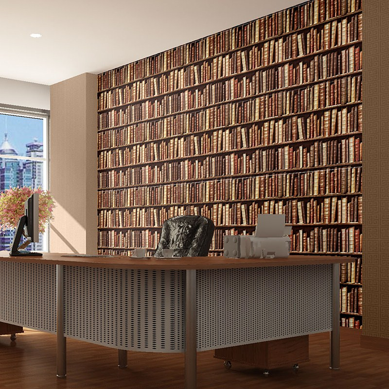 Vintage Books Bookshelves Den Papel De Parede Wallpaper Backdrop Living Cafe Bookstore Library Conference Room