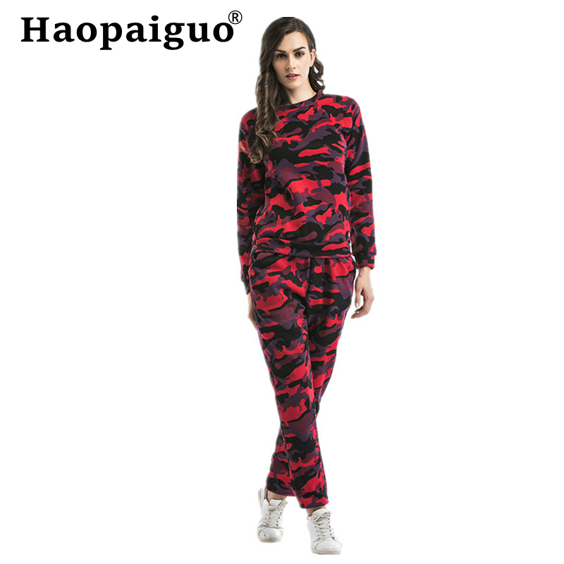 Plus Size Autumn Sport Suite For Women Camouflage Club Outfit Tracksuit For Femme Playsuit Sets Lounge Wear Ladies Top Suit Pant