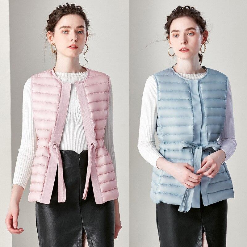Winter New Women's Lacing   Down   Vests Slim Noble Pure Color Female   Down     Coats   Size S-2XL Women Waistcoat