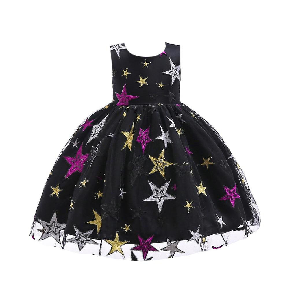 Girls Stars Lace Dress Fashion Princess Dress Costumes Party Tutu Bow Dresses